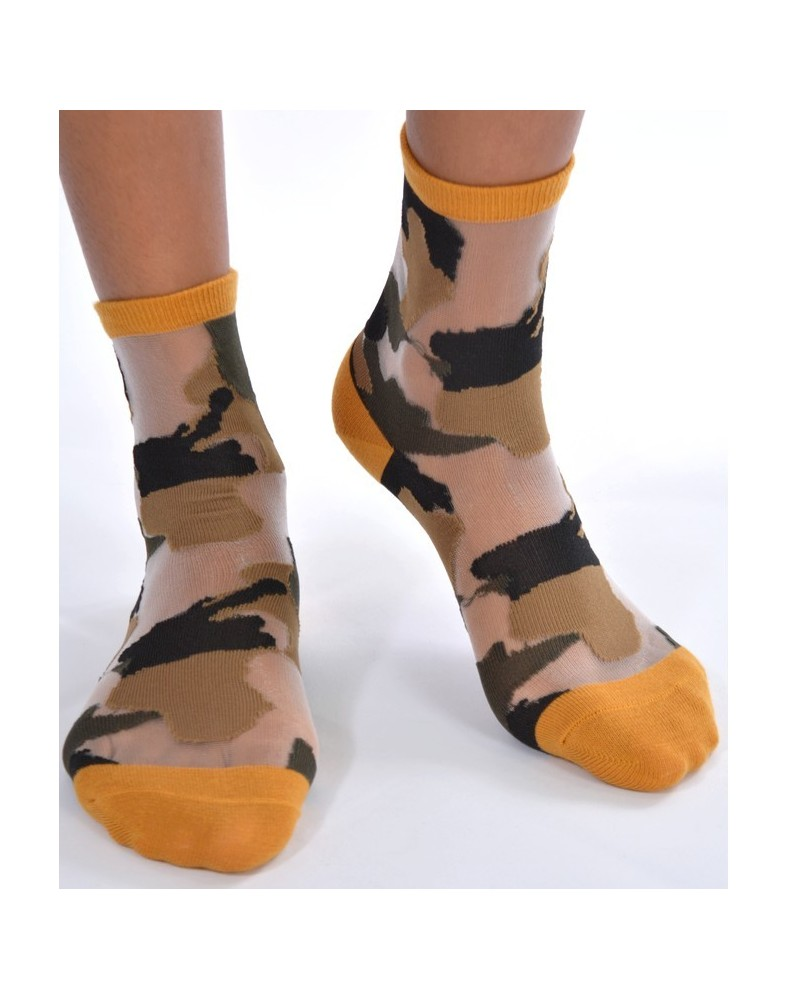 Chaussettes sensuel camouflage chic moutarde