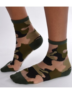 Chaussettes sensuel camouflage chic verte