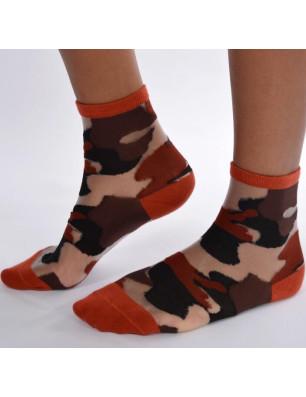 Chaussettes sensuel camouflage chic marron