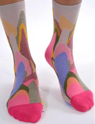chaussettes Abstraite Psyché-délire rose bleu