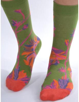 Chaussettes Vert Massif Fleuri