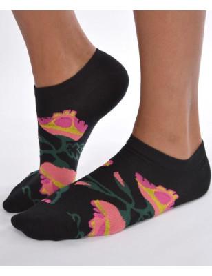 Socquettes Noires Orchidées
