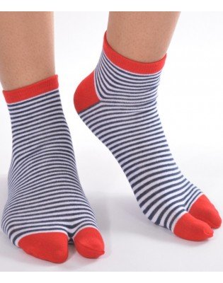 Chaussettes Ninjas fines rayures bleues