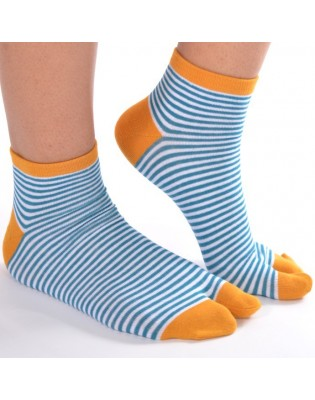 Chaussettes ninjas fines rayures turquoise