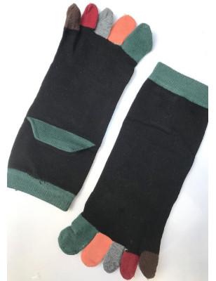 Chaussettes noires doigts colorés