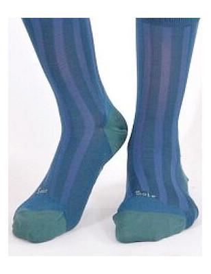 Mi bas Soie et coton Berthe aux grands pieds cobalt