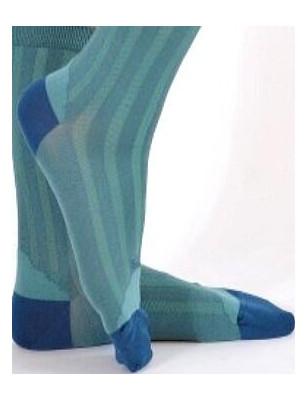 Mi bas Soie et coton Berthe aux grands pieds turquoise