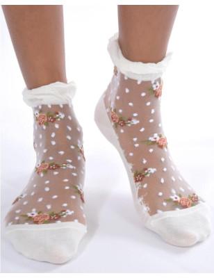 Socquettes Fines Fleurs Plumetis