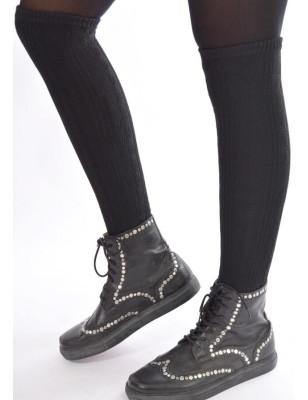 Longues chaussettes sans pieds noire en laine et cachemeire