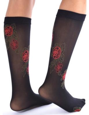 Mi bas opaque noir roses rouges