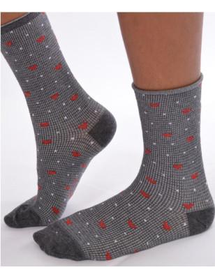 Chaussettes non comprimantes coeurs et carreaux grises