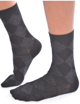 Chaussettes fantaisie lurex arlequin noir