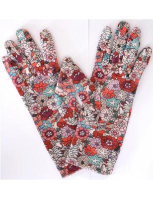 Gants imprimés fleurs rouges ixli