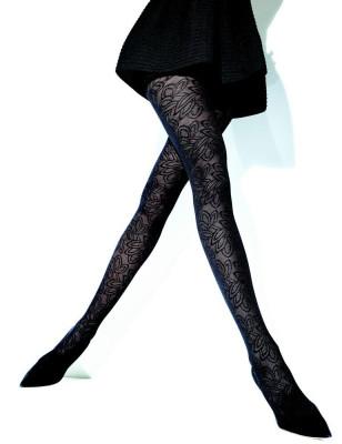 Collant Rossella Girardi dentelle opaque noir