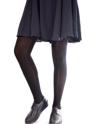 Collant laine noire à stries
