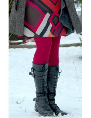 Collant coton velvet rouge