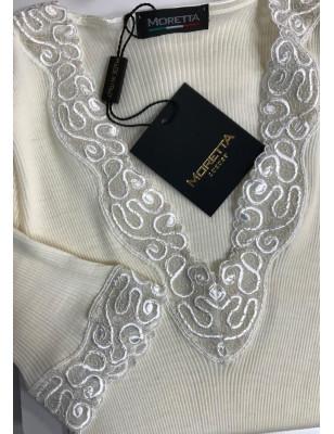 Jolie Chemise en laine et soie et dentelle ivoire