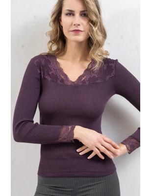 Chemise laine et soie Moretta col en dentelle chic violet