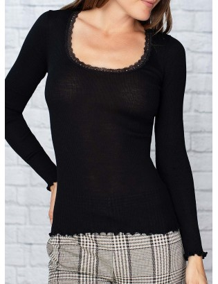 Basic t shirt col rond en laine et soie Moretta