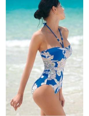 Maillot Bustier Hawaii Bleu Empreinte