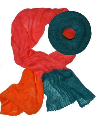 Ensemble écharpe et bonnet mohair bonnefoy orange