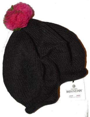 Bonnet en laine mohair Bonnefoy noir