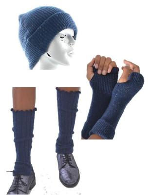 Coffret hiver Berthe aux grands pieds laine cotelé manchons bonnet guetres