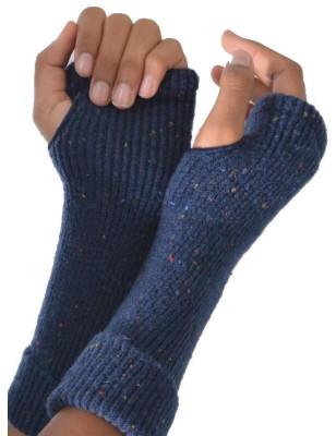 Mitaines Berthe aux grands pieds laine Bleu hiver