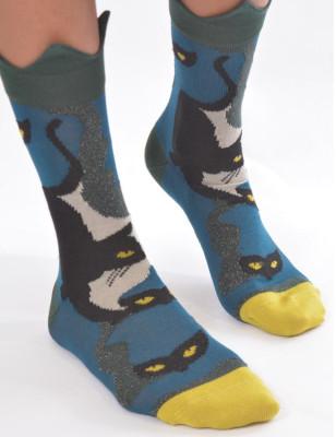 chaussettes berthe aux grands pieds chats courronés