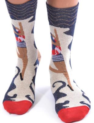 Chaussettes sympas Berthe aux grands pieds marinière