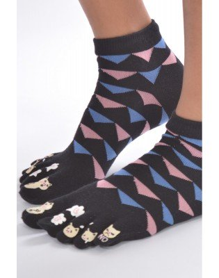 chaussettes 5 doigts triangles chats