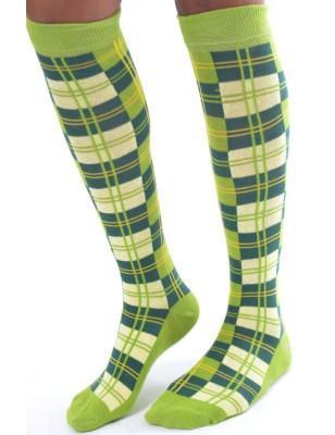 Mi bas Coton à carreaux style écossais Vert Flashy