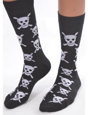 chaussettes fantaisie en coton têtes de morts