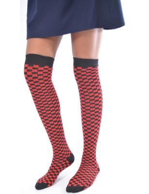 Jambière coton tendance carreaux noires et rouges