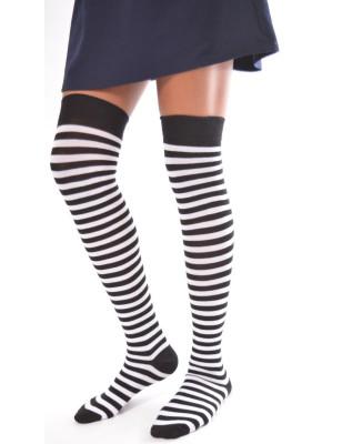 jambières coton fines rayures noires et blanches