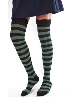 chaussettes hautes rayures bicolore noire et vertes