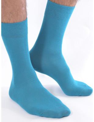 Chaussettes unies turquoise coton