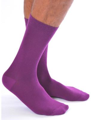 Chaussettes coton uni homme violet
