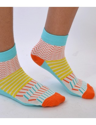 Chaussettes fantaisie patchwork à traites