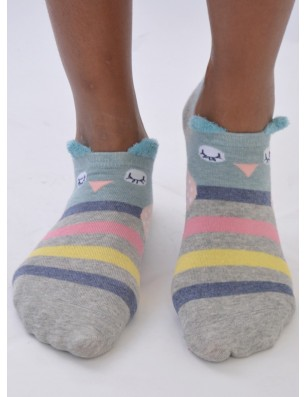 Chaussettes Rayures roses chouettes