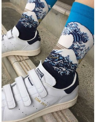Chaussettes coton vague Hokusai art sock