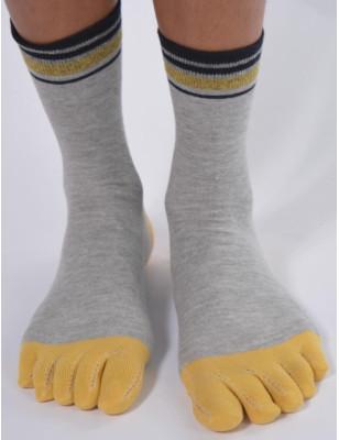 chaussettes 5 doigts Gises à doigts jaunes