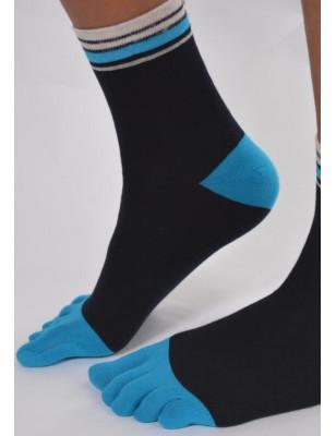 Chaussettes 5 doigts noires à bords bleus