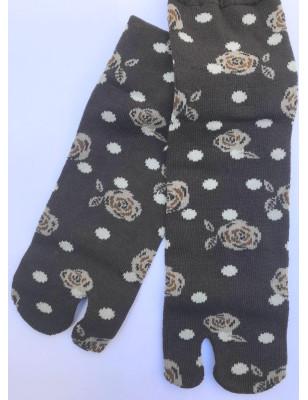 Chaussettes JApoanises Fleurs et plumetis ebene