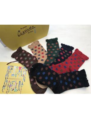 Assortiment de chaussettes à pois en laine angora non comprimante
