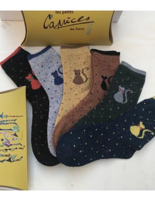 Chaussettes laine chaudes chats sympa bleu