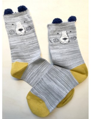 Chaussettes coton ours gris