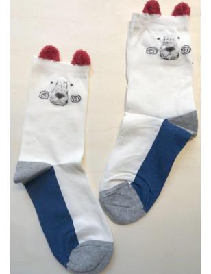 Chaussettes ourson bleu blanc rouge