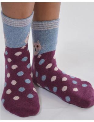 Chaussettes chaudes chat et pois fantaisie grises