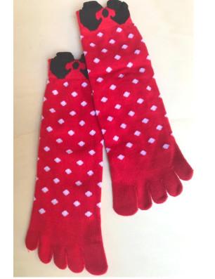 Chaussettes 5 doigts rouges plumetis